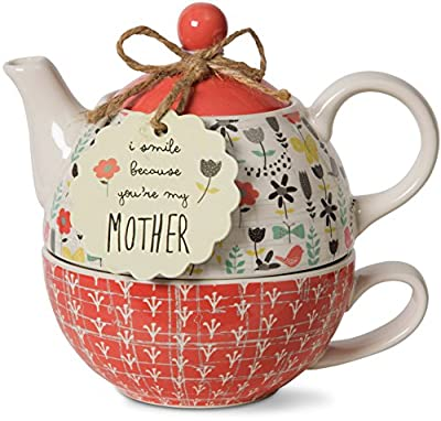 Flowery Ceramic Teapot Cup Set Mom Sentiment Gift