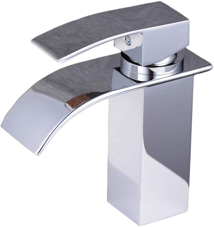 Faucetmodern Single Handle Waterfall Bathroom Sink Faucet, Polished Chrome