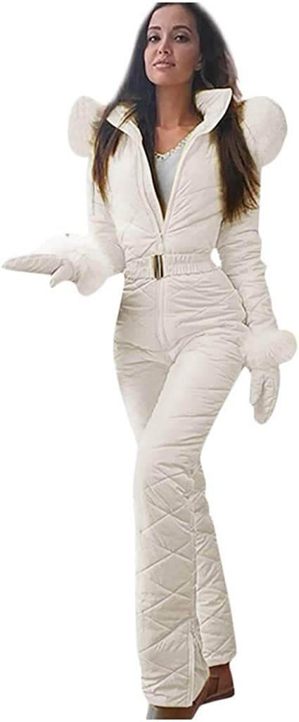 Fankle Women's One Pieces Ski Suits Jumpsuits Coveralls High Waterproof Windproof Hooded Snowboard Snowsuits