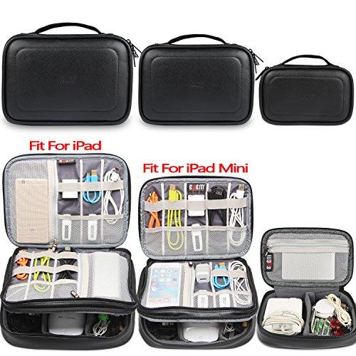 BUBM Estuches para Accesorios Organizador con Cremallera para Eléctricas 3 Piezas para Guardar Cables Gadget Memorias de USB Bolcillos con para Camaras Mochilas de Cargador iPad/iPad Mini, Negro-PU