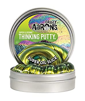 Crazy Aaron s Thinking Putty - Super Illusions  Super Oil Slick - Fidget Toy For All Ages - Stretch Change Play & Create - Shifting Gold Color That Never Dries Out - 4  Large Storage Tin - 3.2 oz.