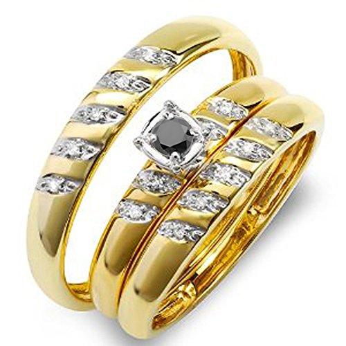 Anillo de oro de 10 quilates redondo blanco y negro de 0,08 quilates con diamantes para hombre y mujer