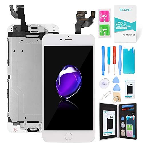 Ibaye Schermo per iPhone 6 Bianco LCD Display Touch Screen Digitizer Parti di Ricambio (con Home Pulsante, Fotocamera, Sensore Flex) Utensili Inclusi (4,7 Pollici)