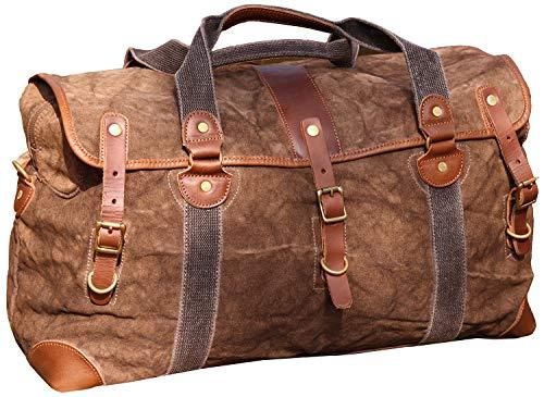Iblue Canvas Travel Duffel Bag Leather Trim Weekend Overnight Tote Handbag Shoulder Bags,#213178 (coffee)