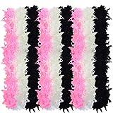 obmwang 9 pcs Feather Boas, Mardi Gras Boa Party Accessory, Black, White, Pink