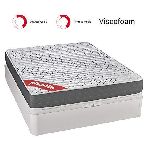 PIKOLIN Colchón viscoelástico Espuma HR 90x190 firmeza Media, Reversible, Alto 22cm - Colchones Sigeo