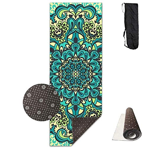 QIAOJIE Yoga Mats Flower Mandala Awesome Deluxe Yoga Mat Aerobic Exercise Pilates 180cm x 61cm