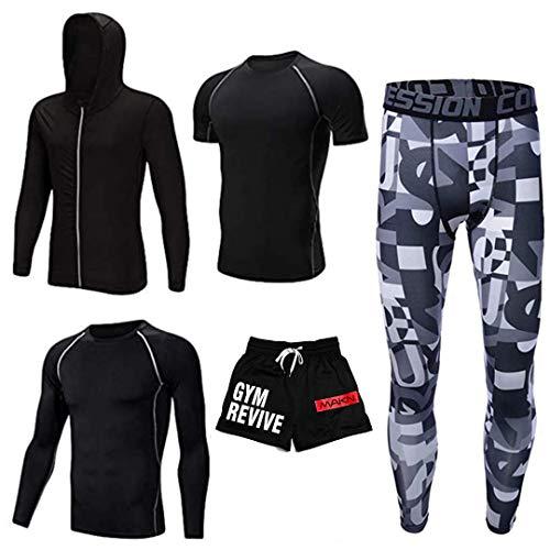 OSS - Conjunto de 5 piezas para gimnasio, correr, entrenamiento, chaqueta con capucha deportiva (Gym Revive Black & Camo, M)