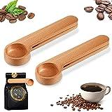2 Pieces Wood Coffee Scoop with Clip Measuring Spoon Tea Coffee Bag Clip Spoon Coffee Bean Loose Tea Spoon for Coffee Lovers Present