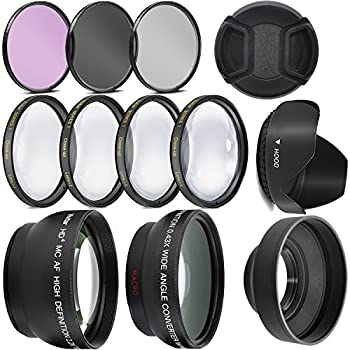 Ultra Deluxe Lens Kit for Canon Rebel T3 T5 T5i T6 T6i T7i EOS 80D EOS 77D Cameras with Canon EF-S 18-55mm is II STM Lens - Includes  7pc 58mm Filter Set + 58mm Wide Angle and Telephoto Lens