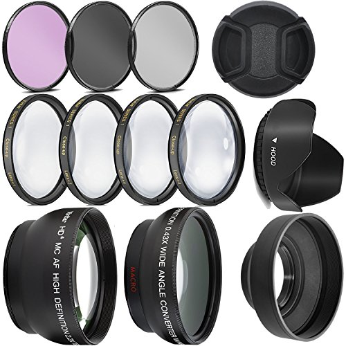Ultra Deluxe Lens Kit for Canon Rebel T3, T5, T5i, T6, T6i, T7i, EOS 80D, EOS 77D Cameras with Canon EF-S 18-55mm is II STM Lens - Includes: 7pc 58mm Filter Set + 58mm Wide Angle and Telephoto Lens