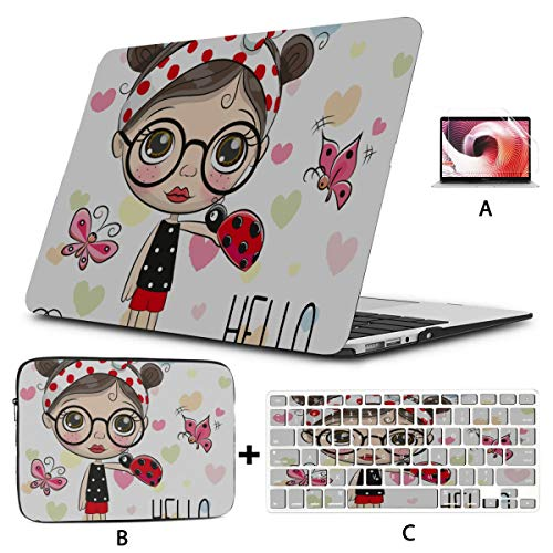 "Estuche Protector para Macbook Cute Cartoon Girl with A Ladybug Estuche para Macbook de 12 Pulgadas Hard Shell Mac Air 11\""/ 13\"" Pro 13\""/ 15\"" / 16\""con Funda para portátil 2008-2020"