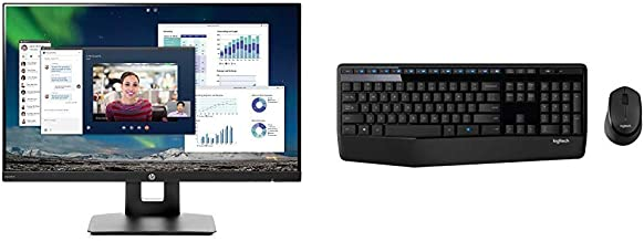 HP 23.8-inch FHD IPS Monitor with Tilt/Height Adjustment and Built-in Speakers(VH240a, Black) & Logitech MK345 Wireless Combo – Full-Sized Keyboard with Palm Rest and Comfortable Right-Handed Mouse