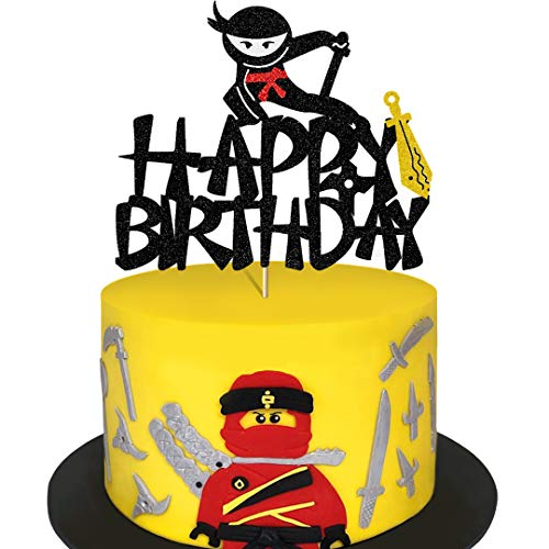Glorymoment Ninja Cake Topper for Kids Birthday, Glitter Ninja Birthday Cake Toppers for Boys Bday Cake Decoration Decor, Happy Birthday Cake Topper for Ninja Theme Birthday Party (6.7'' x 5.63'')
