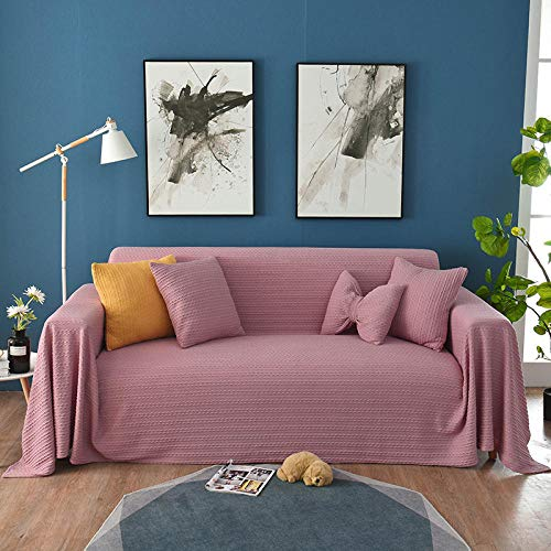 JIAHENGY Slip Resistant Furniture Protector,Nordic Solid Color Full-Cover Universal Sofa Cover, Sofa Towel Full-Cover Sofa Blanket, Sofa Cushion Cloth Cover-Pink_1 seat