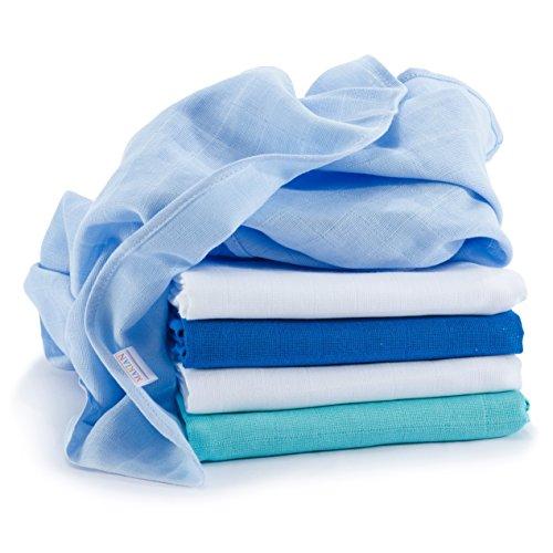 Muselina / Paño / Gasa algodón bebé - 5 Ud., 70x70 cm, azul, blanco - Tejido doble con bordes reforzados, lavable a 60°, certificado OEKO-TEX Standard 100