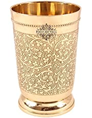 Indian Art Villa Brass Glass Tumbler, Embossed Design