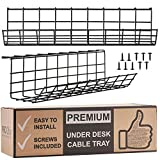 Scandinavian Hub Under Desk Cable Management Tray - Cable Organizer for Wire Management. Metal Wire Cable Tray for Office and Home (Black - Set of 2X 17'')
