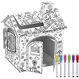 YUEHAPPY® Casa de Juegos de Cartón Princesa Casa de Cartón para Pintar Casa...