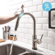 FORIOUS Touch Kitchen Faucets with Pull Down Sprayer, Kitchen Sink Faucet with Pull Out Sprayer, Fingerprint Resistant, Single Hole Deck Mount, Single Handle Copper Kitchen Faucet, Brushed Nickel