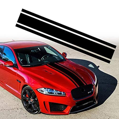 Leasinder 49'x 8.7' Car Hood Stripe Sticker Auto Racing Stripes Body Side Decal Hood Bumper Stripe Decal Vinyl Stripe Sticker Decoration (Style 1 Black)