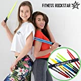 High-Grade Plastic FITNESS ROCKSTAR Drumsticks for Fitness, Aerobic Classes, Workouts and Exercises, ANTI-SLIP Handles, Black Pair