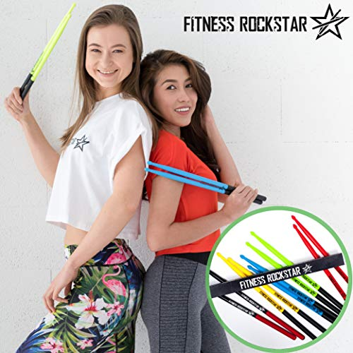 Original High-Grade Plastic FITNESS ROCKSTAR DRUMSTICKS for Fitness, Aerobic Classes, Workouts, Exercises, Cardio Drumming + ANTI-SLIP Handles, Red Pair