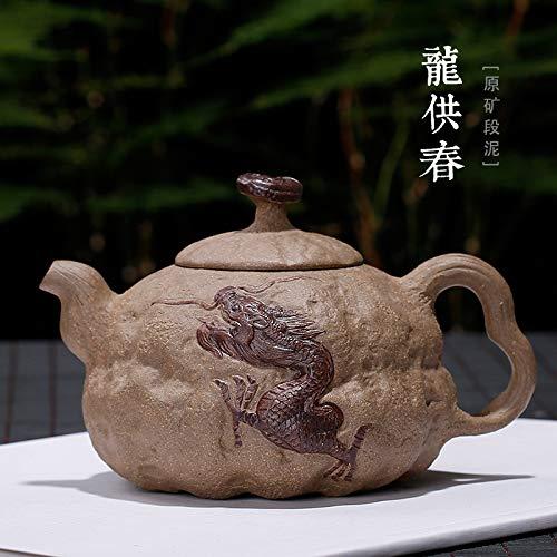 Chinese Yixing Zisha theepot, handgemaakte vintage retro uniek Oosterse origineel antiek design grondstof erz lila klei keramiek theepot 300 ml veer Flying Dragon Carving