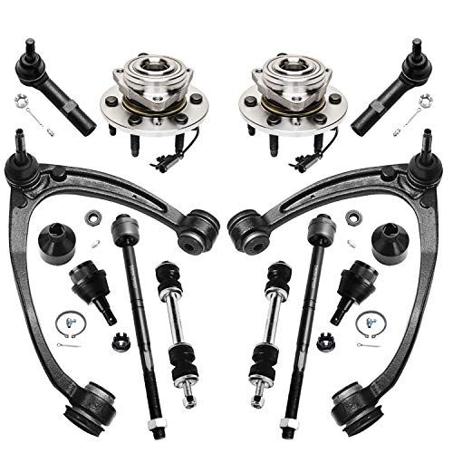 Detroit Axle - Front Wheel Hub & Bearings + Sway Bars + Inner & Outer Tie Rods + Upper Control Arm w/Ball Joints + Lower Ball Joints - 12pc Set