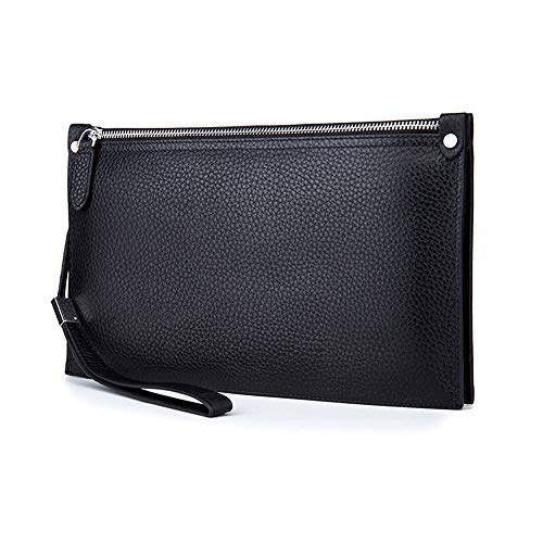 Zzyff Men's Handbag Leather Men's Bag Business Anti-theft Clutch Bag Soft Leather Wallet Black