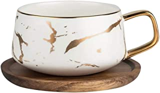 Coffeezone 10.5 Oz Matte Glazed Ceramic Gold Inlay Marble Pattern Tea Coffee Cups with Wood Saucers (White, Cup & Saucer)