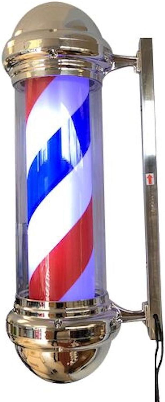 DevLon NorthWest Classic Barber Pole Light redating Stripes with Light Bulb Barbershop Light with Chrome Finish