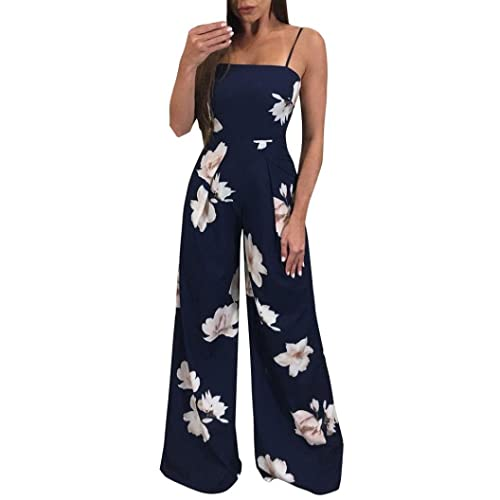 88076a724b55 Minisoya Women Backless Floral Clubwear Playsuit Casual Bodycon Party Wide  Leg Jumpsuit Romper Long Pants Trousers