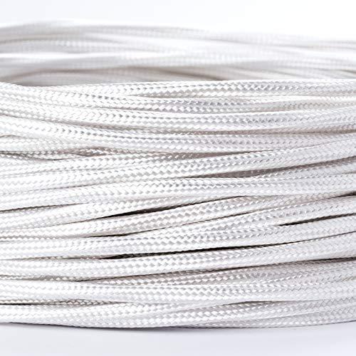 Textilkabel Textilummanteltes Kunststoffleitung Stoffkabel Stromkabel / 3-adrig 3x0,75mm² mit Erdleiter, Lampezubehör (5m, weiß)