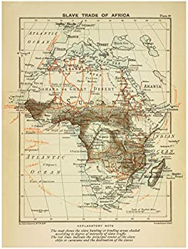 Historic 1899 Map - Slave Trade of Africa - AfricaAntique Vintage Map Reproduction
