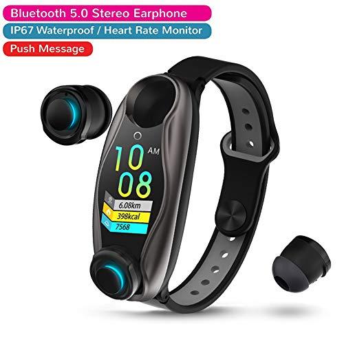 SMARTBrand LEMFO LT04 2-in-1 Smart Watch met draadloze oordopjes, geïntegreerde Bluetooth 5.0, bloeddrukpuls, IP67, waterdicht, sport Smart armband, zwart