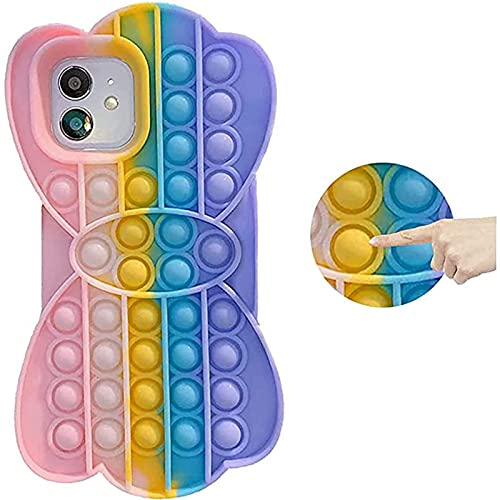 NZAUA Caja de teléfono móvil, Cubierta Protectora para iPhone 11, Tapa de Silicona de Burbuja a Prueba de Golpes, Anti-Gota y Choque, Regalos de diseño de Arco para Damas, iPhone 7