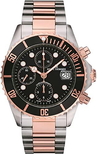 Revue Thommen Diver 17571.6157 - Reloj de pulsera para hombre (42 mm, cronógrafo, correa de acero inoxidable)