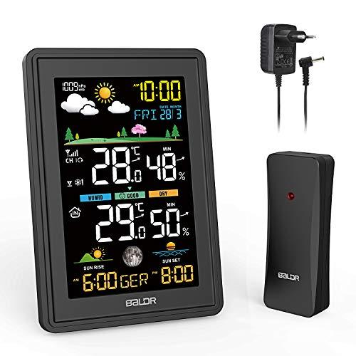ESOLOM Wetterstation Funk mit Außensensor, Digital Thermometer Hygrometer Innen und Außen mit Digitales Farbdisplay, RCC Time, Nachtlicht, Wettervorhersage und Alarm-schwarz