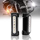 1 Pair Chrome Motorcycle Highway Bar Light Switchback Driving Light White Amber LED For Harley Davidson Touring Motorcycle Turn Signal light (Black)