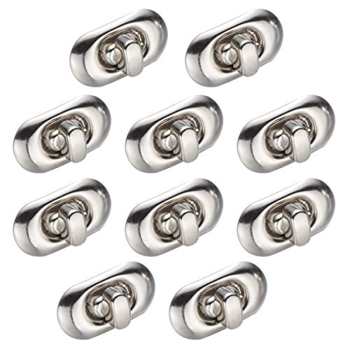Healifty 10pcs Twist Turn Lock Geldbörse Sperre für Leder Handtasche Tasche Leathercraft Zubehör (Silber)