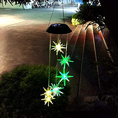 Jhua Wind Chime Solar Wind Chimes Outdoor, Waterproof Explosion Star Wind Chimes Changing Colors LED Solar Windchime Lights Unique Outdoor Decor for Yard, Patio, Garden, Home, Indoor, Festival