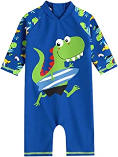 Megartico Boys' Swimsuit One Piece Rash Guard Kids Long Sleeve Sunsuit Swimwear Sets Toddler - Beach Sport Surf