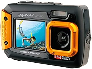 Easypix W1400 Active - Cámara de fotos subacuática (doble pantalla 20 MPzoom 4x sumergible 3 m) color negro/naranja