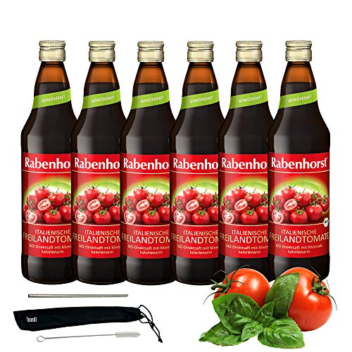 Rabenhorst Saft Italienische Freilandtomate 6x 700ml Vegan Bio-Tomatensaft - 100% aus sonnengereiften, italienischen Bio-Tomaten PLUS fooodz-Trinkhalm Set mit Reinigungsbürste