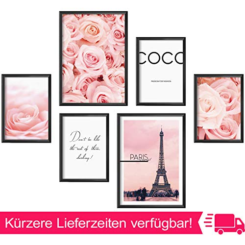 Mia Félice Moderne Wand-Bilder für das Wohnzimmer, Schlaf-Zimmer, Flur Tumblr Wand-Deko modern - Wand-Dekoration Wohnung » Coco « Paris Rosa Rose Poster-Set Wand-Bild - Collage ohne Bilderrahmen