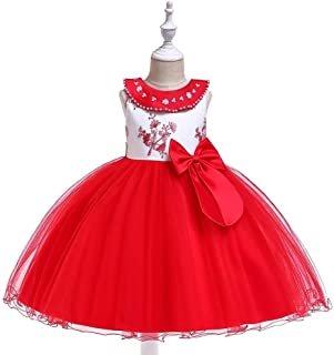 SEASHORE Princess Skirt Satin Girl Bow Flower Girl Wedding Performance Piano Costume 4-12 Years Old (Color : Red, Size : 8-9T)