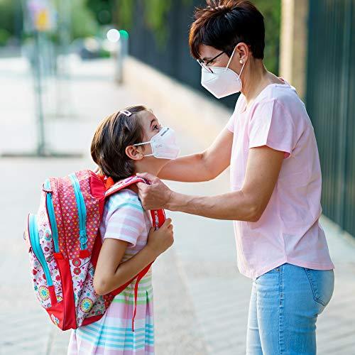NEU: FFP2 Atemschutzmaske mit offiziellem Zertifikat CE2163, Mundschutz Maske 5-lagig [20 Stück] 3D Gesichtsmaske faltbar - 3