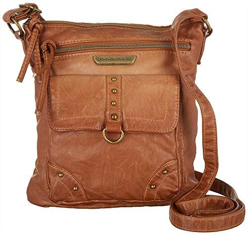 Stone Mountain Smoky Mountain Front Zip Crossbody Handbag One Size Cognac brown