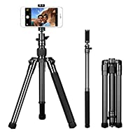"""MOMAX Compact Tripod, 52 Inch 1.87lbs Lightweight Aluminum Alloy Camera Tripod Monopod Stand with Phone Grip+360 Degree Ball Head + 1/4"""" Quick Release for DV Canon Nikon Sony DSLR Cameras,Black"""